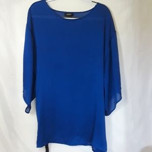 Peck & Peck Sz L Blue Blouse with Fabric belt